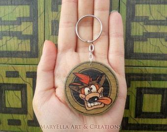 Made to order - Crash Bandicoot - Crash plywood medallion keychain