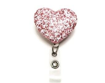 Bubblegum-Heart Badge-Designer ID Badge Holder-Retractable ID Reel-Heart Badge Holder-Nurse Gift-Name Badge Holder-RN Badge Holder-Nurse