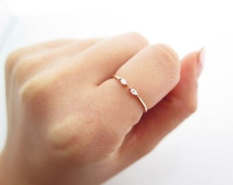 Delicate Sterlig silver Adjustable CZ Ring / Oval cz open ring / Dainty CZ ring / Dual Silver Ring / 925 simple silver ring