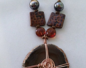 Wire Wrapped Rock Necklace & Earring Set