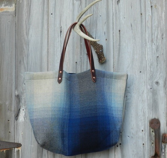 Salvaged Navy Ombre Plaid Bag