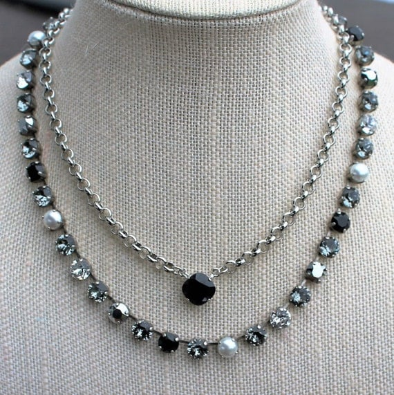 Swarovski Crystal Necklace created using 8mm crystals in Crystal-Jet-Black Diamond, White Pearl and Metallic Silver, empty cup chain