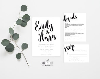 Printable Wedding Suite , Wedding Stationery Suite , Modern Wedding Invitation , Wedding RSVP , White and Black Printable Wedding Suite