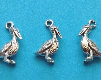 10 Pelican Charms Silver - CS2181