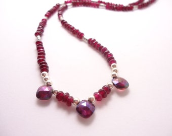 Garnet necklace gemstone necklace beaded necklace red necklace gemstone necklace with silver Garnet Jewelry Red Necklace Sterling Silver