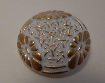 Czech glass button - white, gold  - 27 mm