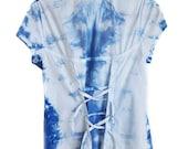 Short Sleeve Shirt - Decorative Back - Tied Back - OOAK Shirt - Womens Shirt - Girls Shirt - Blue Indigo Dyed - Free Shipping