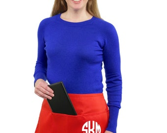 Monogrammed 3 Pocket  Half Apron great for personal or business use Personalized Apron Teacher Apron