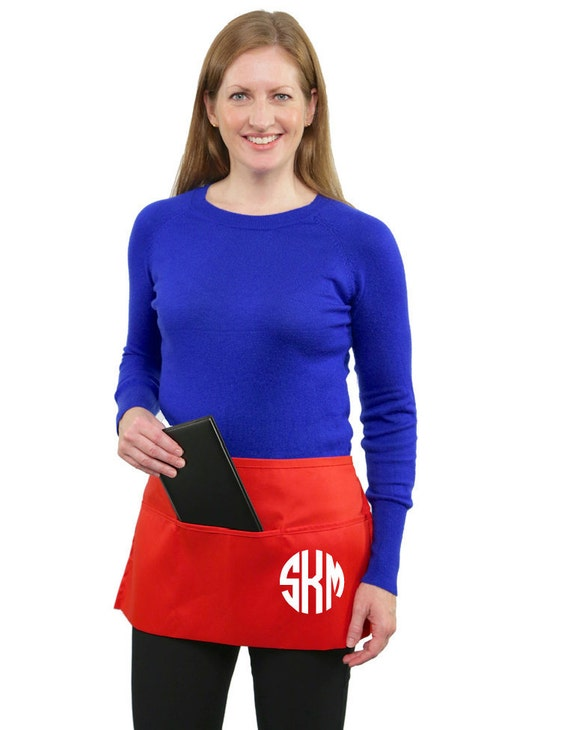 Monogrammed 3 Pocket  Half Apron great for personal or business use