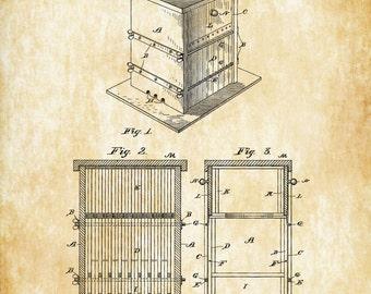 Bee Hive Patent 1885 - Patent Print, Wall Decor, Bee Keeper, Honey Bee, Honeycomb, Farmhouse Decor