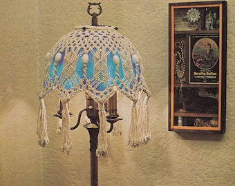"1970s ""Tiffany Tulip"" Tiffany Or Tri-Light MACRAME Floor Lamp Shade - Instant PDF Digital Download"