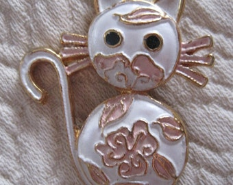 Vintage Enamel White Cat Brooch
