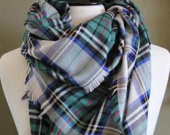 Large Hunter Tartan Plaid Blanket Scarf