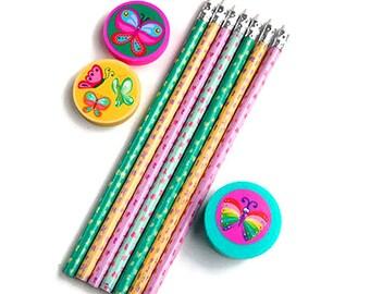 Stationery set, pencils, school set, eraser, pencil sharpener, butterflies, pink, green, blue, yellow, planner supplies, school supplies