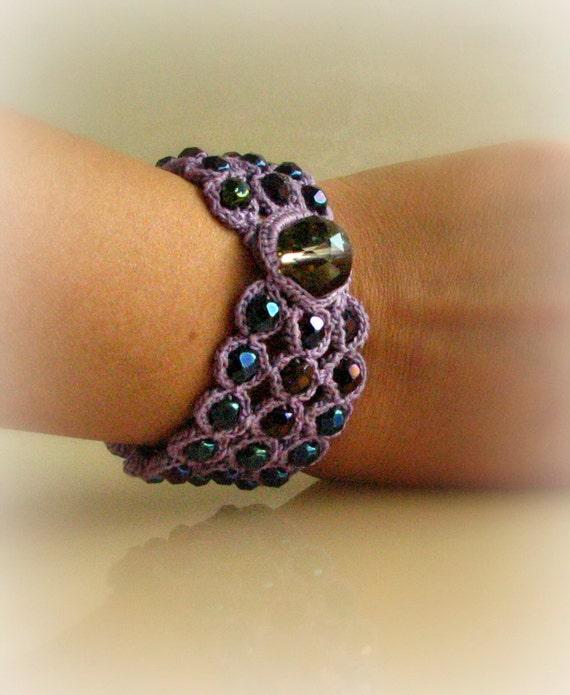Wide Beaded Cuff Bracelet