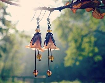 Topaz Earrings - Flower Earrings - Autumn Earrings - Floral Earrings - Brown Earrings - Woodland Earrings - Fall Wedding Gift - Dangle Drop.
