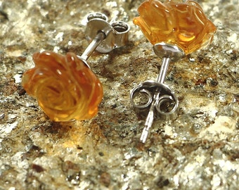 Citrine Stud Earrings-Silver Earrings- Sterling Silver 925 Earrings-Carved Rose Earrings - 10mm