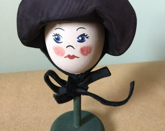 Wooden Egg Head with Taffeta Bonnet Doll. Egghead Figurine Knicknack