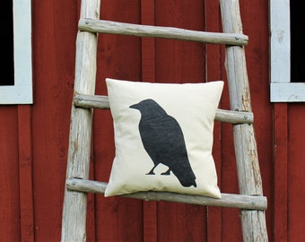 17x17//Crow Pillow Cover//Free Shipping
