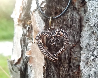 Beautiful handmand heart pendant necklace wrapped with oxidized copper wire