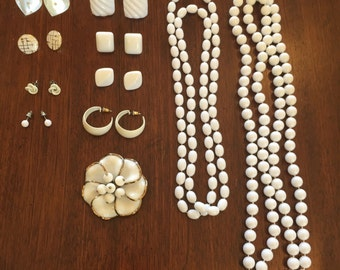 Lot of Bright white vintage jewelry