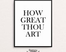 How Great Thou Art Printable 8x10, Printable Wall Art, Typography, Hymn Art, Christian Printable, Inspirational Quote, Instant Download
