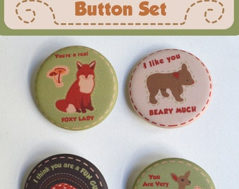 """Wood You Be Mine? 4 Button Set- 1.25"""""""