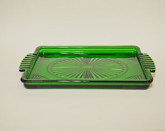 Vintage Avon Art Deco Green Emerald Accent Glass Vanity/Jewelry/Dresser Tray