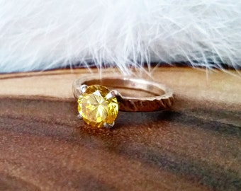 Big CZ Ring Yellow CZ Ring Hammered Solitaire Ring Yellow Stone Ring Hammered Silver Solitaire Ring Hammered Brass Solitaire Ring Yellow CZ