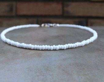 White beaded necklace white beaded choker necklace simple dainty choker boho chokers for womens choker necklace for girlfriend gift for her