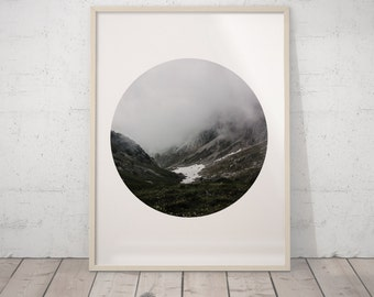Mountain Wall Art, Mountain Prints, Minimalist Art Print,  Landscape Modern Art, Scandinavian Print Art, Black and White Photography Fog Art