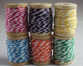 Baker's Twine Sampler Pack of 6 Spools Blue Purple Green Pink Yellow Orange Scrapbooking Card Making Paper Crafts Christmas Gift Wrapping