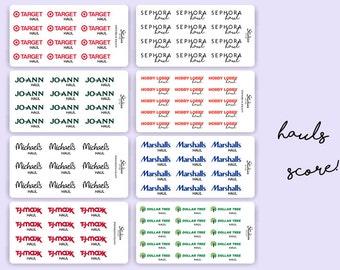 Store Hauls Planner Stickers / Michaels, JoAnn, Sephora, Dollar Tree, Walmart / Planner Stickers / Word Sticker / Calligraphy Stickers | D31