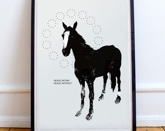 The Foal, horse, Ink Drawing, print