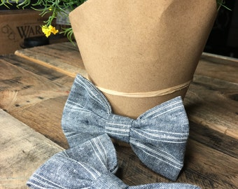 Hand-stitched Striped Linen Bow- Grey