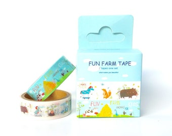 FUN FARM WASHI Tape 2PC Set - Farm Animals Japanese Masking Tape / Washi Tape 2PC Set (15mm x 5 Metres)