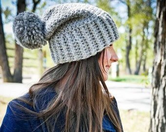 Crochet Hat PATTERN: Slouchy Crochet Hat, Slouchy Hat, Slouchy Beanie, Chunky Hat, Winter Hat, Toque Hat Pattern, Pompom Hat, WeeYarn