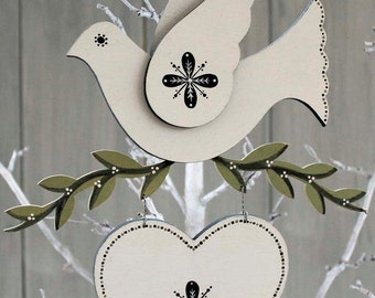 Hand Painted Wooden Dove, Christmas Decoration, Wooden Christmas Gift, Wooden Bird.