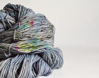 MODERN CONFETTI - hand dyed yarn - speckled yarn - sock yarn, fingering weight - grey, fuchsia, teal, lime - superwash wool