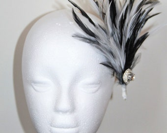 Black and white 1920s style feather hair clip, bridal hair clip, wedding hair clip, party hair clip, Great Gatsby hair clip, fascinator