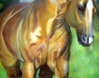 "Original Pastel titled ""Shiner"" of Palomino horse."