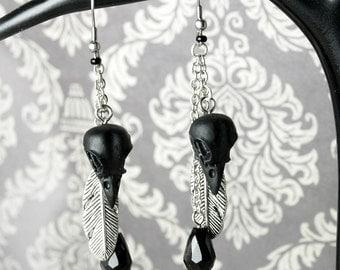 Black bird skull black feather earrings stainless steel Gothic tribal