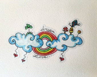 clouds and rainbows wall sticker, baby shower gift, nursery wall sticker, baby fashion