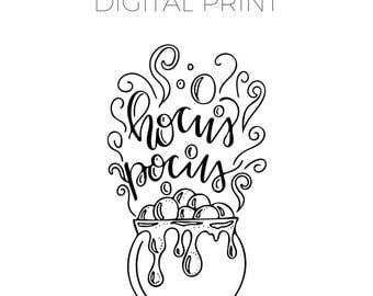 hocus pocus coloring page hand drawn digital print