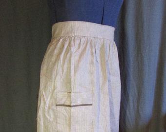 1960s Vintage Brown Striped Half Apron with Front Pocket