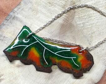 Enamel Leaf Pendant, Cloisonné Enamel, Mori girl, Forest fashion, Mori girl jewelry, natural kei, mori kei