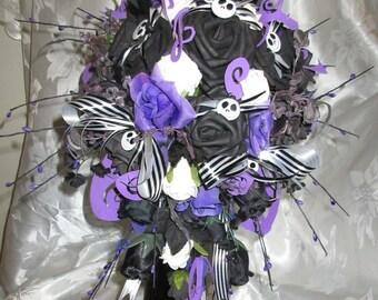 Nightmare Before Christmas Wedding Flowers Package. Bride Bouquet & Buttonhole set. Jack Skellington detail.