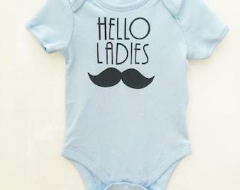 Hello Ladies Moustache Black Print Vest Bodysuit Onesie