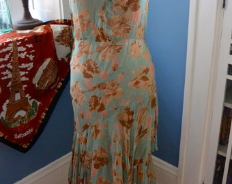 1920s vintage Flower tiered sheer summer dress