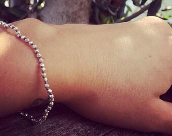 Silver 925 bracelet faceted Nuggets, yarn in beige cutlets